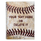 Vintage Baseball Notebooks Personalized YOUR TEXT
