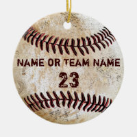 Vintage Baseball Ornaments with NAME and NUMBER