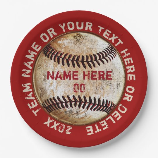 Vintage Baseball Paper Plates Personalized  sc 1 st  Zazzle : baseball paper plates - pezcame.com