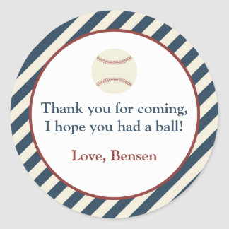 Vintage Baseball Party Classic Round Sticker