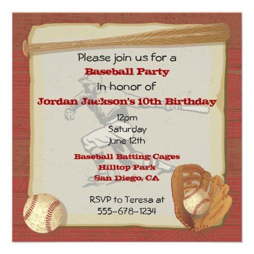 Vintage Baseball Birthday Invitations: Personalized Baseball Birthday Invitations