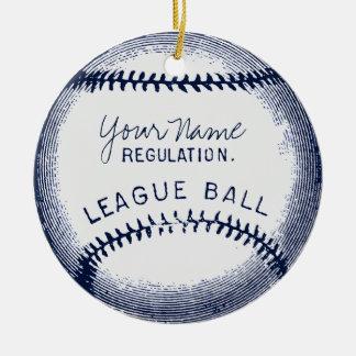 Vintage Baseball, personalized ball Ceramic Ornament