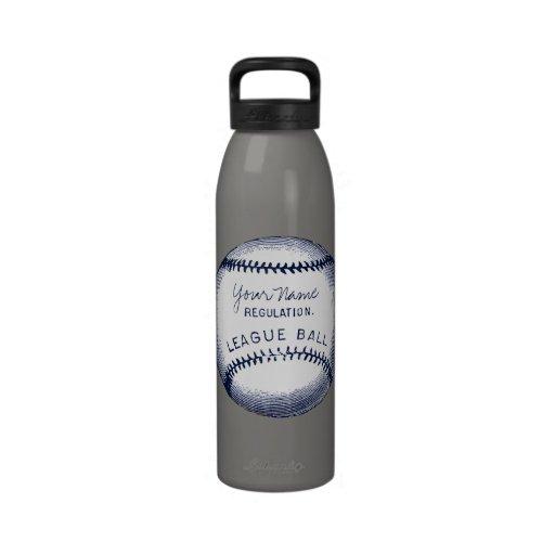 Vintage Baseball, personalized ball Water Bottles