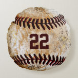 "Vintage Baseball Pillows Name, Team Name, Number<br><div class=""desc"">Personalized Vintage Baseball Pillow with Team Name, Players Name and his Jersey Number typed into the Two Text Boxes to your right. Cool rustic old stone-look vintage baseball. Round sports pillows are fantastic Baseball team gifts. This is an original design that you won&#39;t find anywhere else. If you would like...</div>"