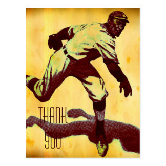Vintage Baseball Pitcher Thank You Postcard