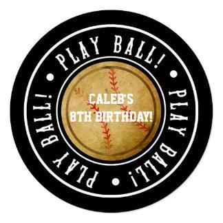 Vintage Baseball PLAY BALL Black Party Invitation