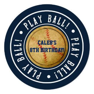 Vintage Baseball PLAY BALL Blue Party Invitation