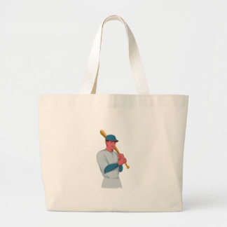 Vintage Baseball Player Bat Watercolor Large Tote Bag
