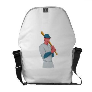 Vintage Baseball Player Bat Watercolor Messenger Bag