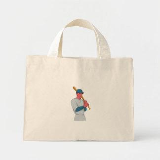 Vintage Baseball Player Bat Watercolor Mini Tote Bag
