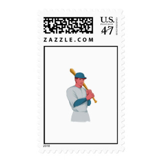 Vintage Baseball Player Bat Watercolor Stamp