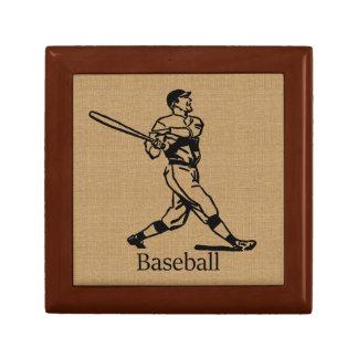 Vintage Baseball Player on Burlap Look Gift Box