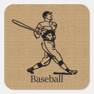 Vintage Baseball Player on Burlap Look Square Sticker