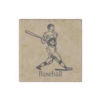 Vintage Baseball Player on Burlap Look Stone Magnet
