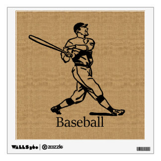 Vintage Baseball Player on Burlap Look Wall Sticker