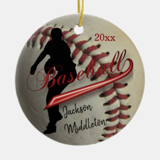 Vintage Baseball Player - Red Ceramic Ornament