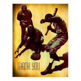 Vintage Baseball Players Thank You Postcard