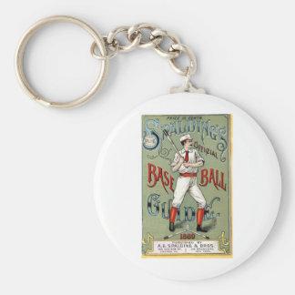 Vintage Baseball Print Basic Round Button Keychain