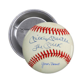 Vintage Baseball Red Stitched +Your Autograph Name Button