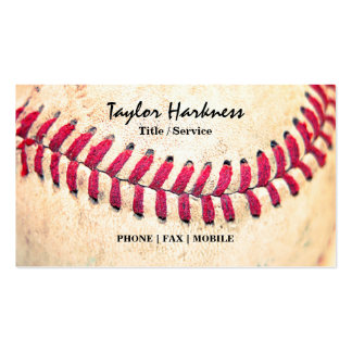 Vintage Baseball Red Stitches Close Up Photo Double-Sided Standard Business Cards (Pack Of 100)