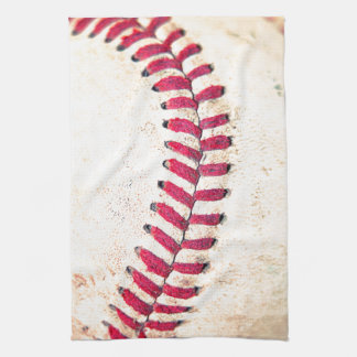 Vintage Baseball Red Stitches Close Up Photo Kitchen Towel