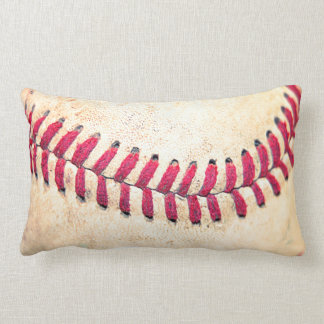 Vintage Baseball Red Stitches Close Up Photo Throw Pillow