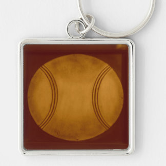Vintage Baseball Silver-Colored Square Keychain