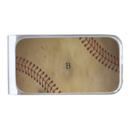 Vintage Baseball Silver Finish Money Clip