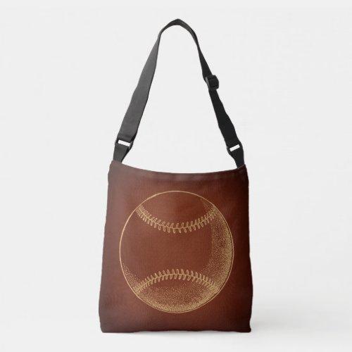 Vintage Baseball Sports Art Crossbody Bag