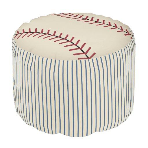 Vintage Baseball Ottoman Pillow Pouf