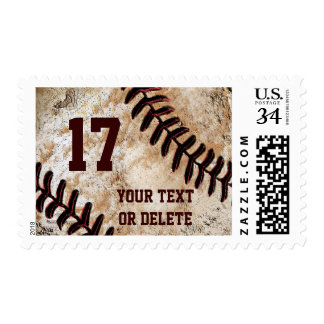 Vintage Baseball Stamps, Your TEXT BULK Discounts Postage Stamp