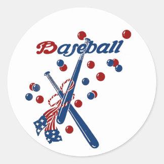 Vintage Baseball Stars and Stripes Classic Round Sticker