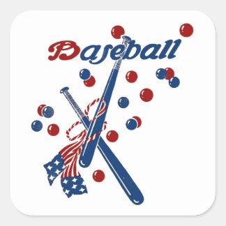 Vintage Baseball Stars and Stripes Square Sticker
