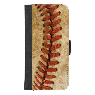 Vintage Baseball Stitches Pattern Grunge Look iPhone 8/7 Plus Wallet Case
