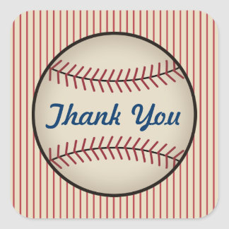 Vintage Baseball Thank You Stickers