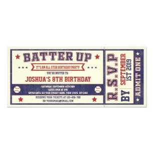 Vintage Baseball Ticket Birthday Invitation