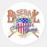 Vintage Baseball USA Shield Classic Round Sticker