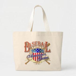 Vintage Baseball USA Shield Large Tote Bag