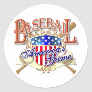 Vintage Baseball USA Shield Classic Round Sticker