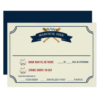 Vintage Baseball Wedding Response Card