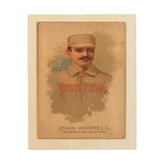 Vintage Baseball Wood-Panel-Boston's John Morrell Wood Canvas