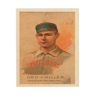 Vintage Baseball Wood-Panel-Geo Miller Pittsburg Wood Print