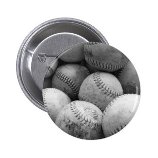 Vintage Baseballs in Black and White 2 Inch Round Button
