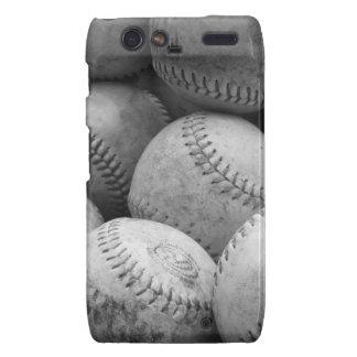 Vintage Baseballs in Black and White Droid RAZR Cases