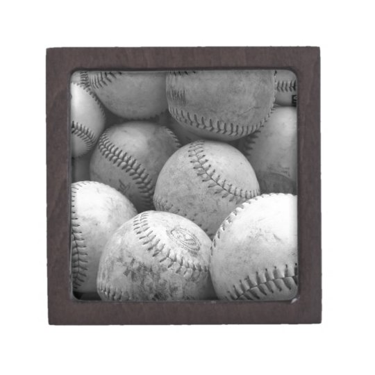 Vintage Baseballs in Black and White Keepsake Box