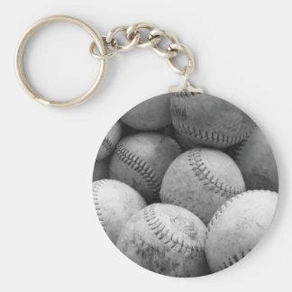 Vintage Baseballs in Black and White Key Chain