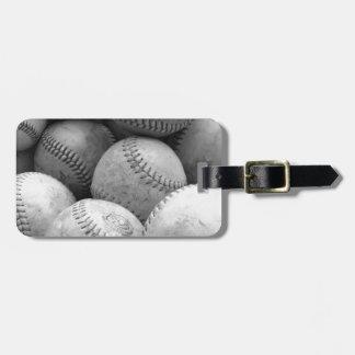 Vintage Baseballs in Black and White Travel Bag Tag