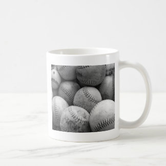 Vintage Baseballs in Black and White Coffee Mugs