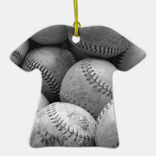 Vintage Baseballs in Black and White Double-Sided T-Shirt Ceramic Christmas Ornament