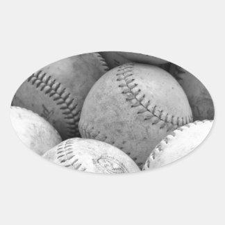 Vintage Baseballs in Black and White Oval Sticker